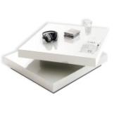 Couchtisch ICARO - weiß - Hochglanz - drehbare Platte