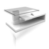 Couchtisch MATTHIAS - Glasplatte - weiß Hochglanz