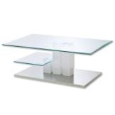 Couchtisch NILS - Hochglanz - weiß - Glasplatten